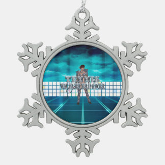 TOP Tennis Warrior Snowflake Pewter Christmas Ornament