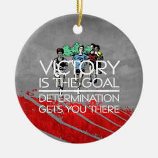 TOP Track Victory Slogan Double-Sided Ceramic Round Christmas Ornament