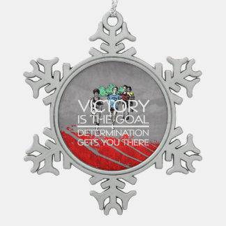 TOP Track Victory Slogan Snowflake Pewter Christmas Ornament