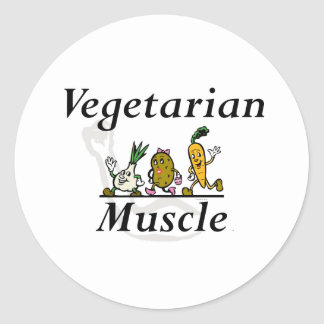 TOP Vegetarian Muscle Classic Round Sticker