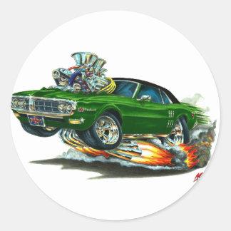 Top Verde-Negro 1967-68 de Firebird Etiquetas Redondas