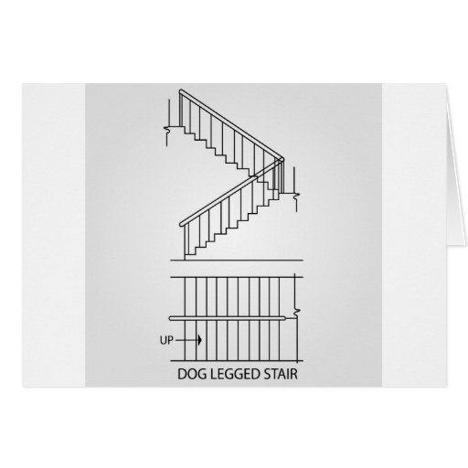Front Elevation Of Dog Legged Staircase : Top view and front of a dog legged staircase card
