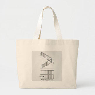 Top view and front view of a dog legged staircase large tote bag
