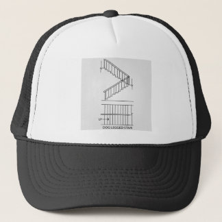Top view and front view of a dog legged staircase trucker hat