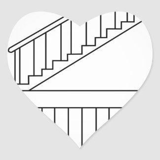 Top view and front view of a straight staircase heart sticker