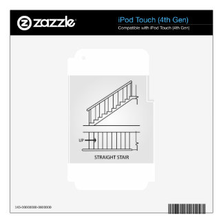 Top view and front view of a straight staircase iPod touch 4G decal