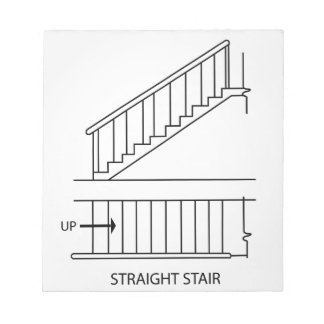 Top view and front view of a straight staircase notepad