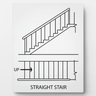 Top view and front view of a straight staircase plaque