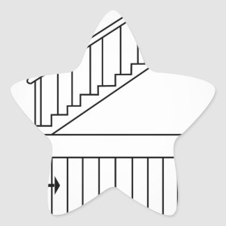Top view and front view of a straight staircase star sticker