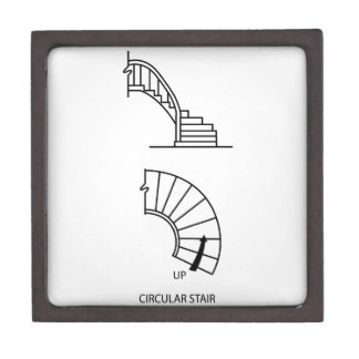 Top view and side view of a circular staircase gift box