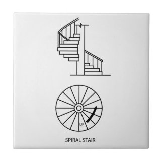 Top view and side view of a Spiral Staircase Ceramic Tile