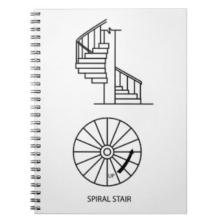 Top view and side view of a Spiral Staircase Notebook