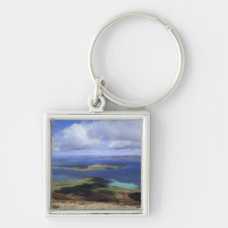 Top view: burra sound, graemsay & orkney mainland Silver-Colored square keychain