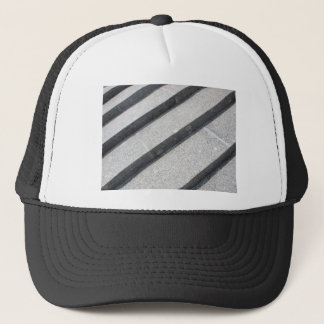 Top view closeup of gray marble step trucker hat