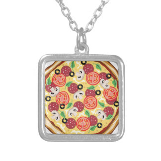 Top View Great Pizza Silver Plated Necklace