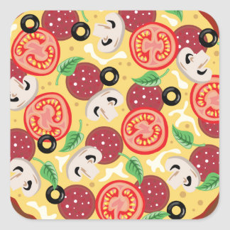 Top View Great Pizza Square Sticker