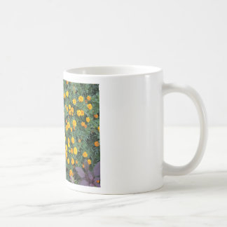 Top view of a big flower bed of yellow flowers classic white coffee mug