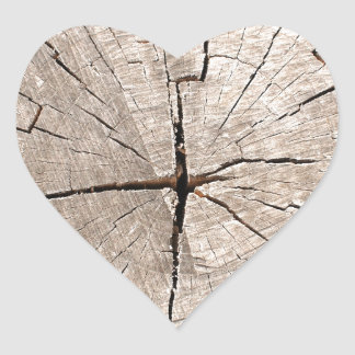 Top view of a brown cut tree heart sticker