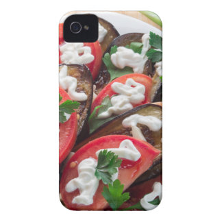 Top view of a dish of stewed aubergine iPhone 4 case