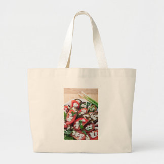 Top view of a dish of stewed aubergine large tote bag