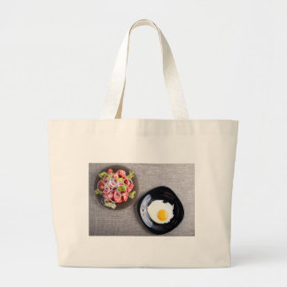 Top view of a healthy homemade breakfast of egg large tote bag