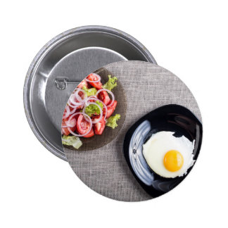 Top view of a healthy homemade breakfast of egg pinback button