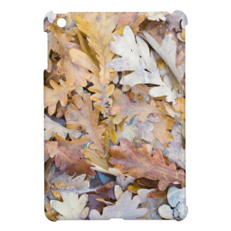 Top view of a layer of fallen oak leaves iPad mini cover