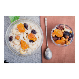 Top view of a portion of oatmeal with fruit poster