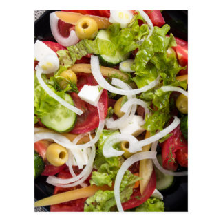 Top view of a salad made from natural vegetables postcard
