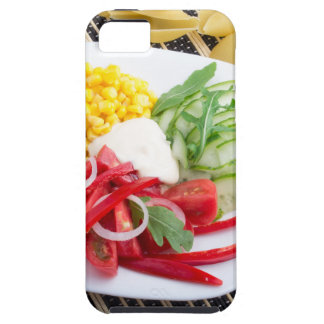 Top view of a white plate with salad iPhone SE/5/5s case