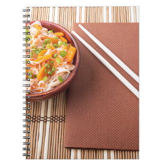 Top view of an Asian bowl of rice noodle Notebook