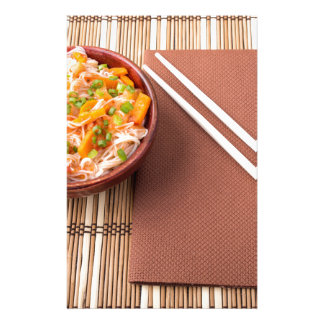 Top view of an Asian bowl of rice noodle Stationery