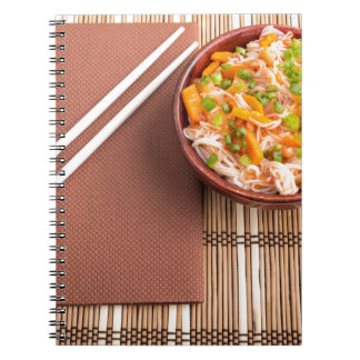 Top view of an Asian dish of rice noodle Notebook