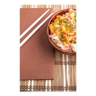 Top view of an Asian dish of rice noodle Stationery