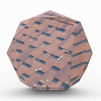 Top view of brown roof shingles acrylic award