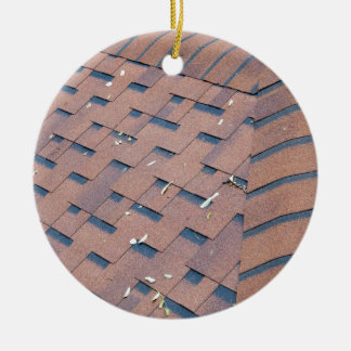 Top view of brown roof shingles ceramic ornament