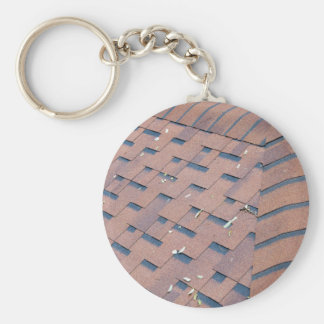 Top view of brown roof shingles keychain