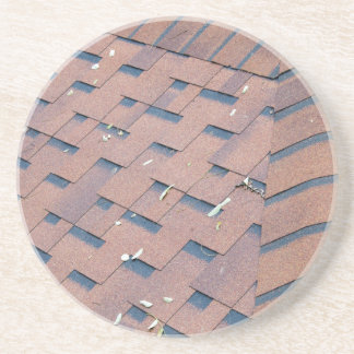 Top view of brown roof shingles sandstone coaster