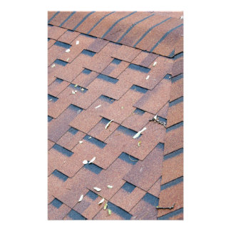 Top view of brown roof shingles stationery