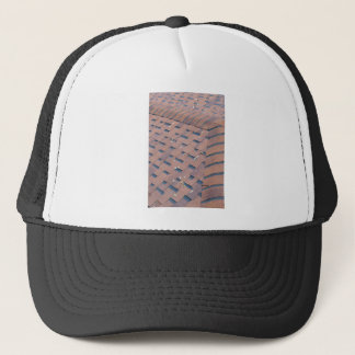 Top view of brown roof shingles trucker hat