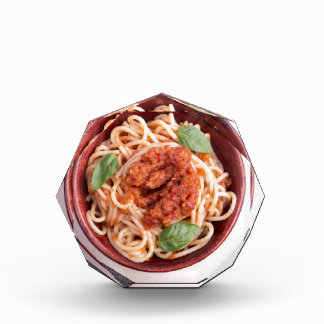Top view of cooked spaghetti with tomato relish acrylic award