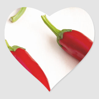 Top view of hot chili peppers heart sticker