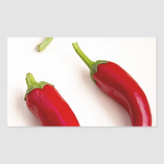 Top view of hot chili peppers rectangular sticker
