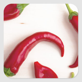 Top view of hot chili peppers square sticker
