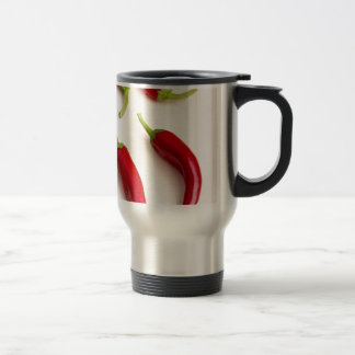Top view of hot chili peppers travel mug