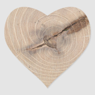 Top view of the annual rings of cut tree closeup heart sticker