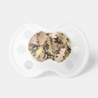 Top view of the fallen oak leaves closeup pacifier