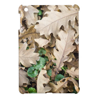 Top view of the fallen oak leaves iPad mini cover