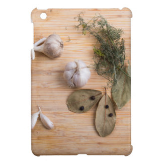 Top view of the garlic and dried spices iPad mini cover