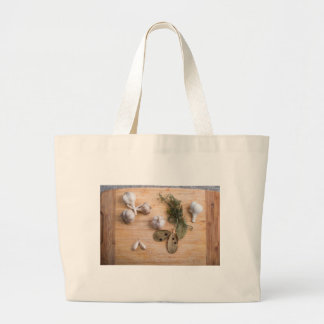 Top view of the garlic and dried spices large tote bag